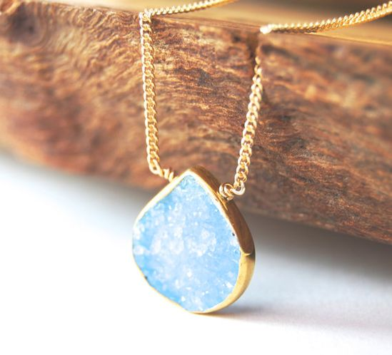 Hokulani necklace - sky blue gold druzy necklace, maui, hawaii www.kealohajewelr...