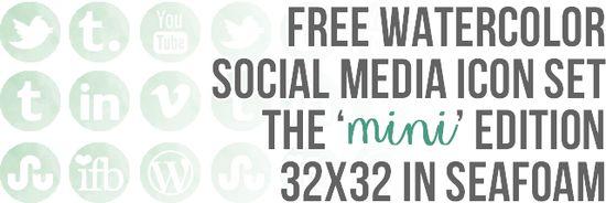 free mini watercolor social media buttons - Shrimp Salad Circus