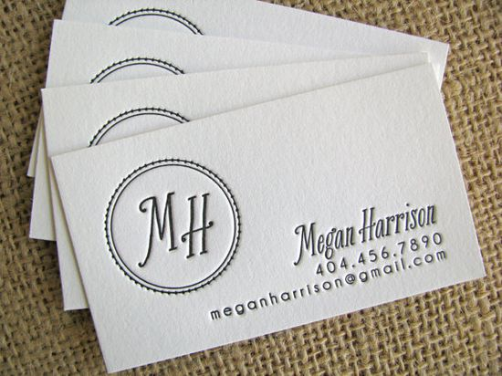 NEW designs:  letterpress CALLING cards (1 color- set of 150) via Etsy