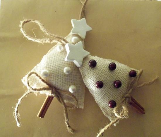 Burlap Cinnamon Stick Little Christmas Tree Ornament
