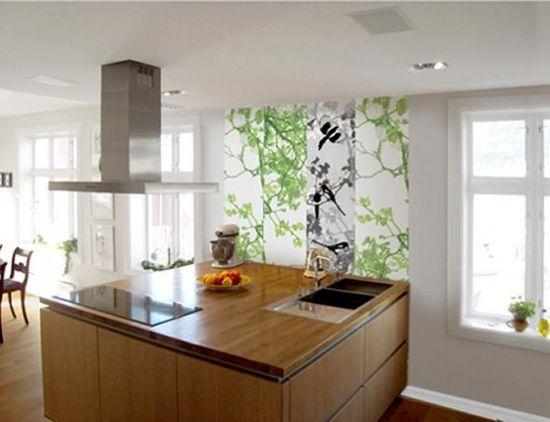 scandinavian wood kitchen interior design and wall