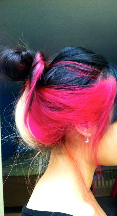 #pink #blonde & #black #dyed #hair #pretty