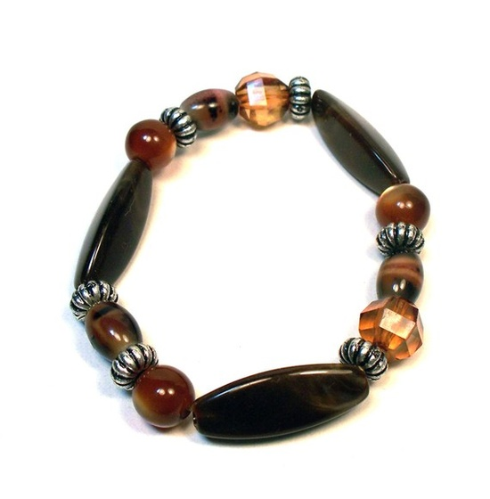 Earth tone Brown Caramel Cats Eye Bracelet by lindab142 on Etsy, $7.75