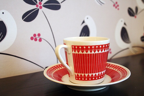 So I love the wallpaper BEHIND the lovely Vintage Cup and Saucer