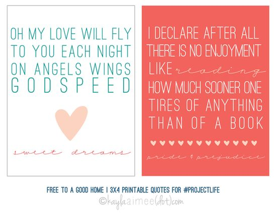 adorable free printable 3x4 quote cards for project life / kayla aimee.