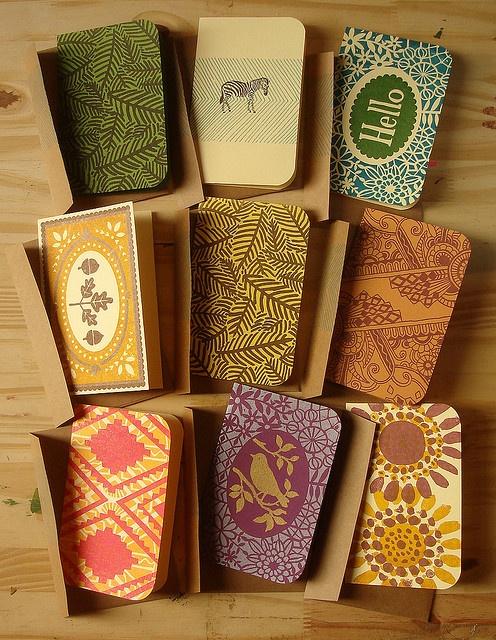 linocut cards.