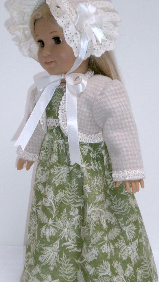 REGENCY 1812, 4pc Jane Austen, Dress, Felted Wool Spencer, Bonnet & Shoes, by dollupmydoll, $60.00
