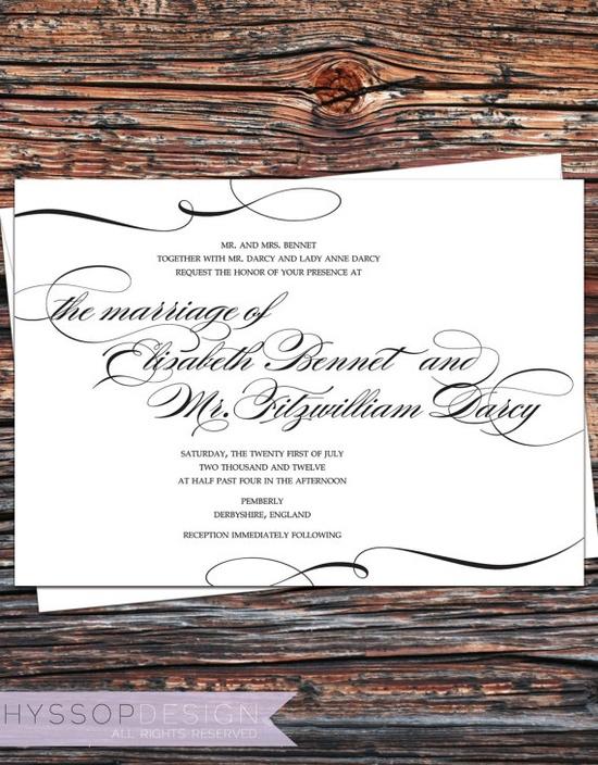 "Printable/DIY - ""Pride and Prejudice"" Calligraphy Wedding Invitation & RSVP Set. $75.00, via Etsy."