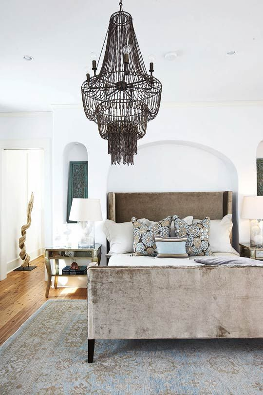 elegant bedroom with chandelier