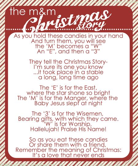 The M&M; Christmas story with free printable