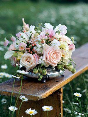 shallow silver flower vase