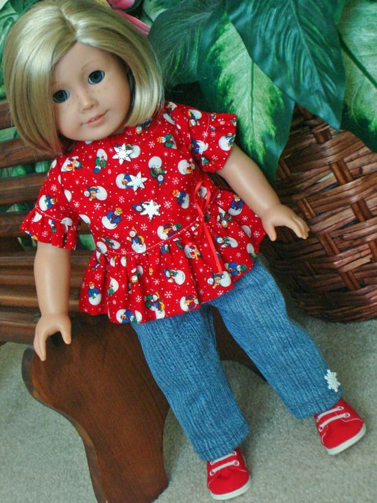 American Girl Jeans and Winter Top Full of by SewSweetDaisy, $15.00