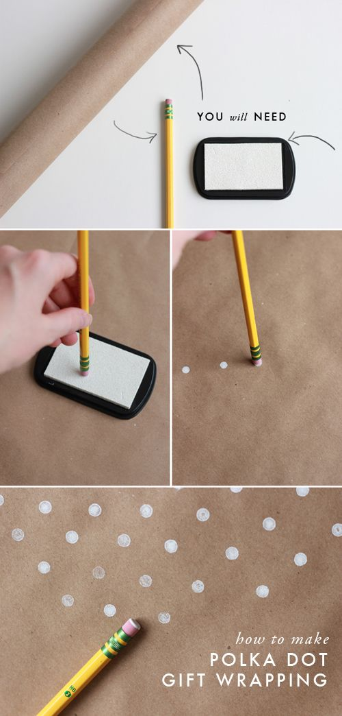 how to make polka dot wrapping paper with an eraser.