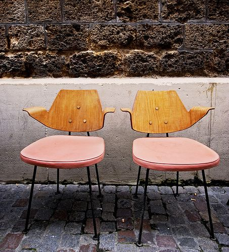 vintage pink & wood chairs