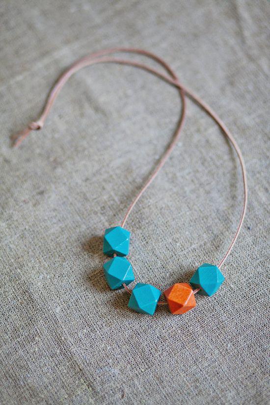Geometric Necklace / Boho Necklace / Wooden by BlueBirdLab on Etsy, $17.00