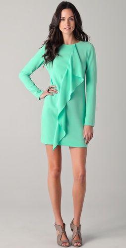 Tibi Dress // Love this rich mint - a summer wedding? + coral nails?