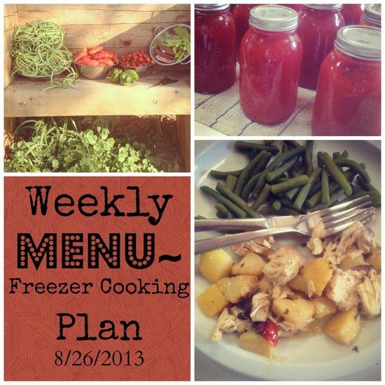 Weekly Menu / Freezer Cooking Plan