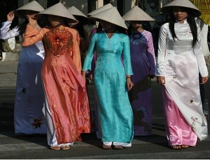 Women in Ao Dai traditional costume,