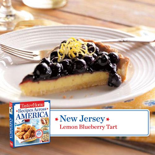 50 States in 50 Days:  New Jersey :: Lemon Blueberry Tart from Taste of Home    Find regional Northeastern recipes like this one and more in our new cookbook, Recipes Across America---->  www.tasteofhome.c...