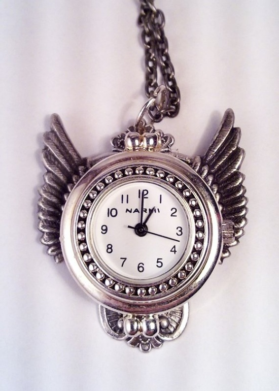Winged Working Watch Pendant (Steampunk Jewelry by Steam Designs)