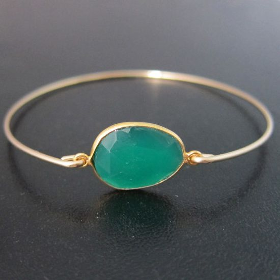 Green Onyx Bracelet Onyx Bangle Green Onyx by FrostedWillow