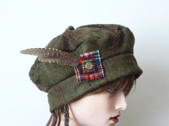 Tartan and Feather Hat Pin by SatzDesigns on Etsy, $18.00 - The hat!