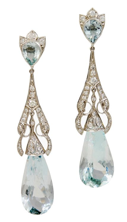 Art Deco Diamond Aquamarine Teardrop Earrings
