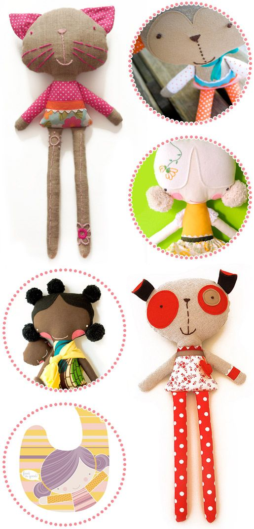 these are by pink nounou; check out rest of site for more handmade toys
