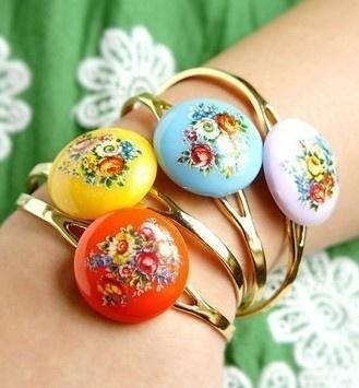 Vintage floral cuff bracelet