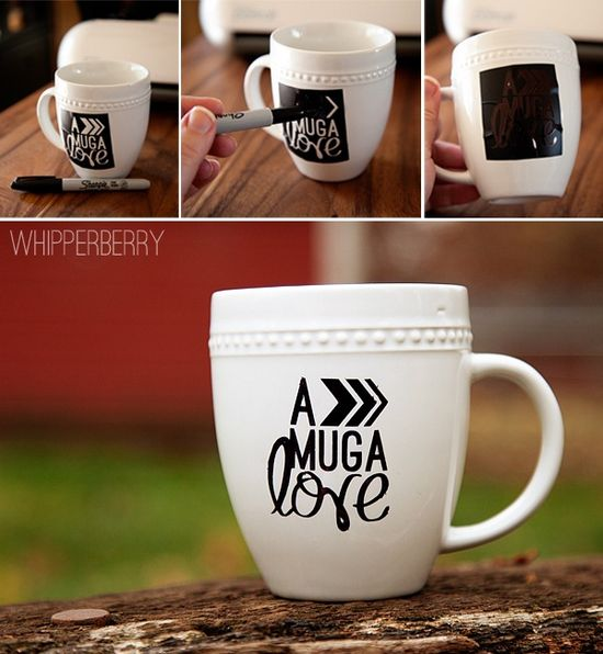 tutorial :: Using a vinyl stencil to create a fun graphic on a mug with a Sharpie from Whipperberry