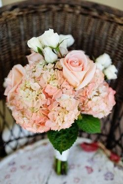 Romantic Pink Rose and Hydrangea Bouquet