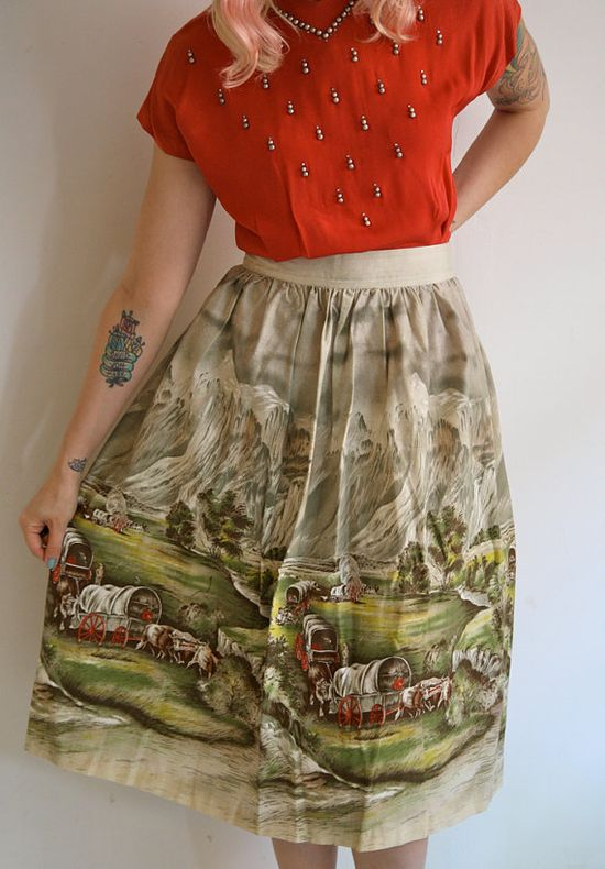 1950s Skirt // Wagon Trail // Vintage 1950s by dethrosevintage, $54.00