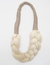 Wool Braid Necklace by Elsinore Carabetta-- DIY inspiration. I'd want to do this in a color.