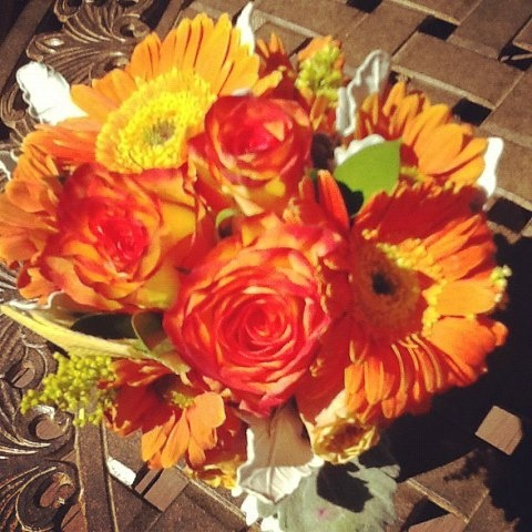 colorful fall flower arrangement