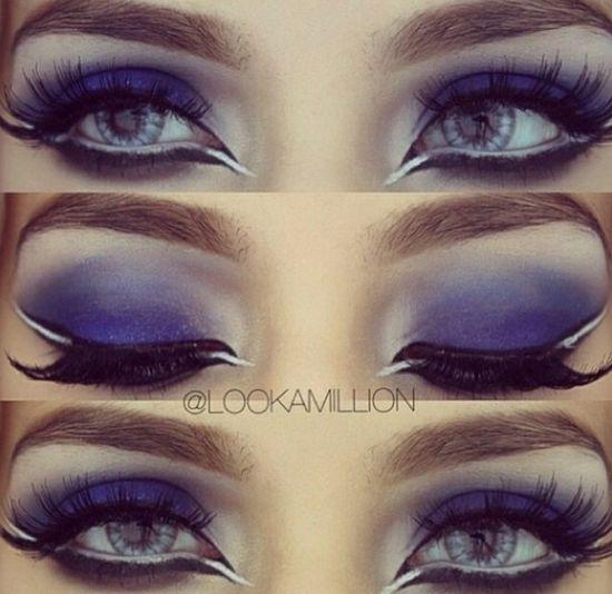 Beautiful purple eye makeup #wingedeyeliner