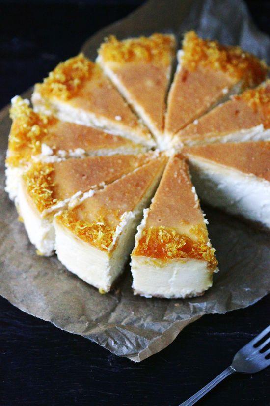 Lemon cheesecake with lemon syrup