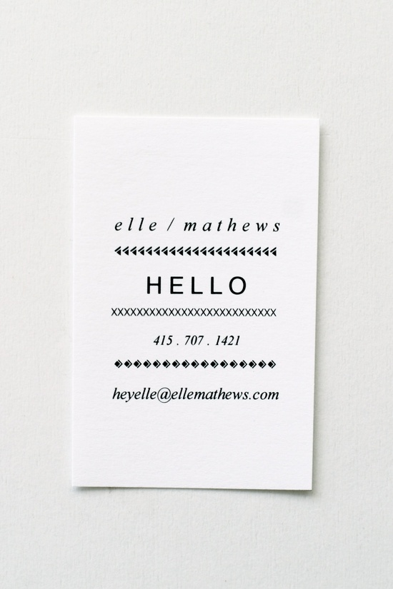 simple business card with type variety + pattern