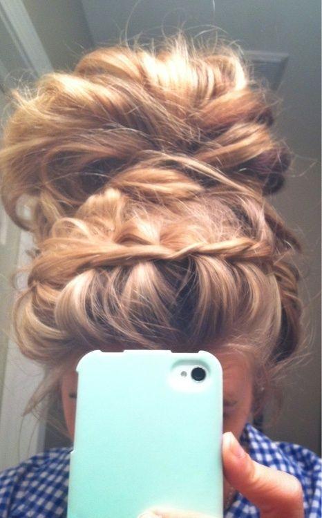Twist headband, messy bun...    i just need long hair already.. :/