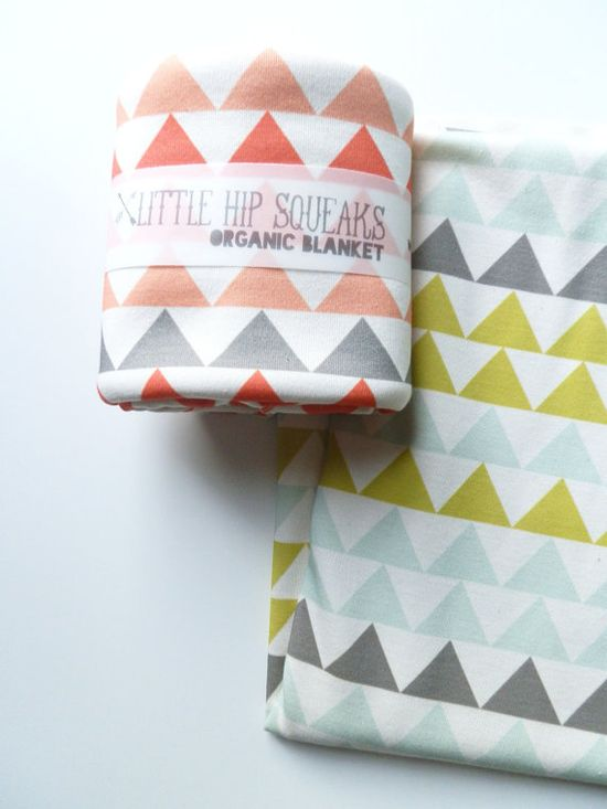 Baby Blanket, Geometric Triangles, Available in 4 Color Ways, Organic Baby Bedding by Little HIp Squeaks. $44.80, via Etsy.