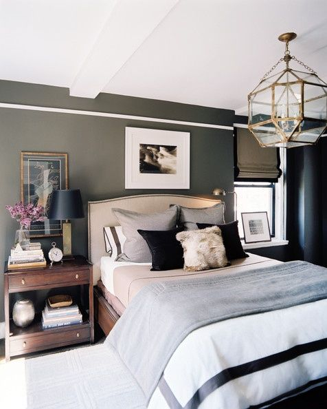 bedroom light fixture, masculine bedroom, tailored bedding, warm interiors, art in the bedroom  manly bedrooms, how to add masculinity to your master bedroom  www.twineinterior...
