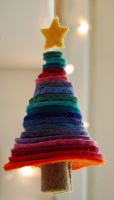 Felt Christmas tree.  This would be so cute tied to a holiday present and then later used as a Christmas ornament