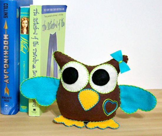 Owl Plushie Stuffed Felted Owl Plushie in by LoungeAboutPillows, $20.00