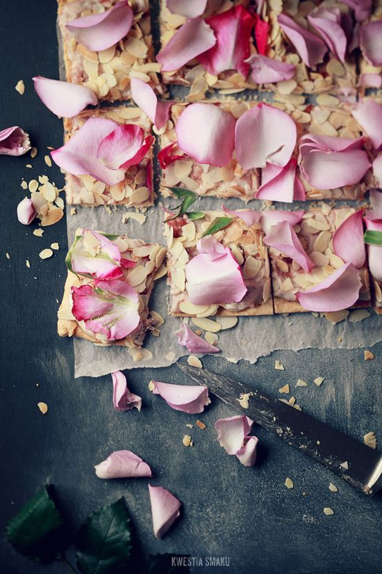 Polish Easter Cake with Almonds and Rose Petals