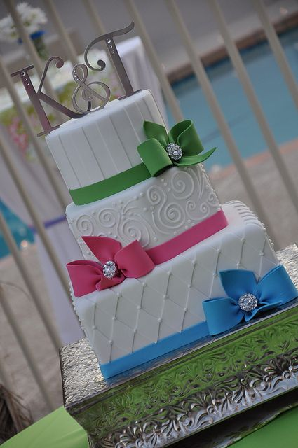 Colorful wedding cake by Designer Cakes By April, via Flickr