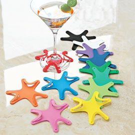 Keep track of your glass with Wine Coasters that attach to stemware.