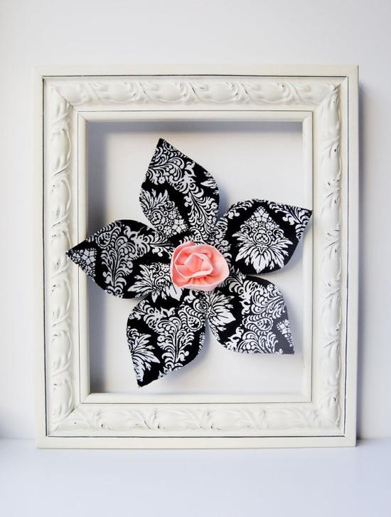 3D fabric flower wall art