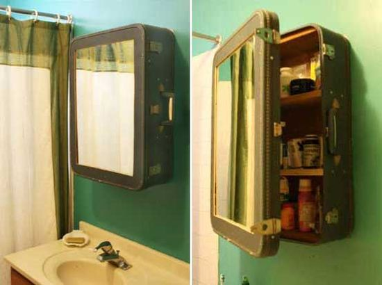 Old suitcases turned into the bathroom medicine cabinet for