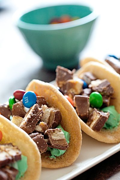 Dessert Tacos -- Total sugar overload but if you're throwing a Mexican fiesta, these would be such a fun dessert to serve.