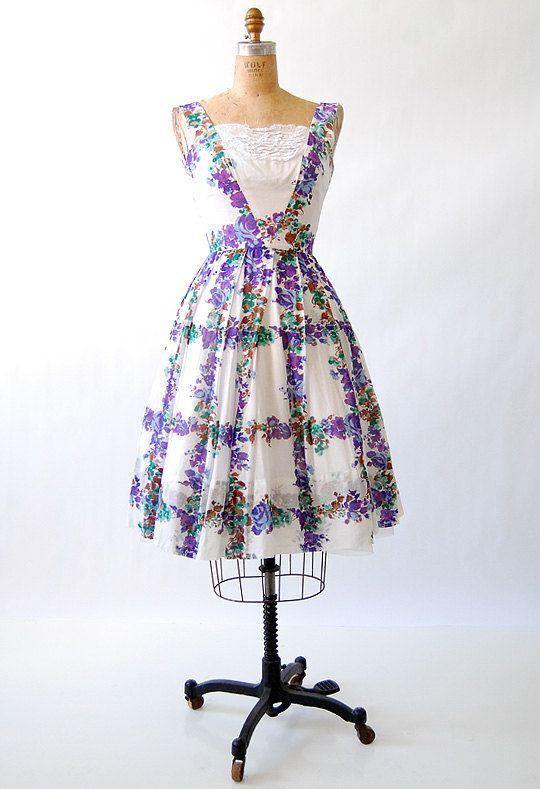 vintage 1950s / Violets on the Trellis Dress
