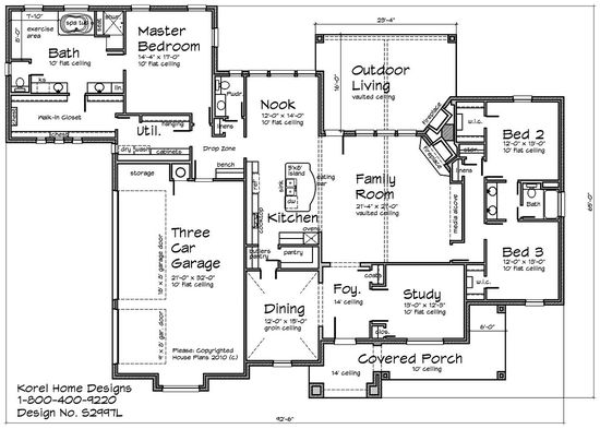 House Plans by Korel Home Designs - I like the master closet connected to the laundry room